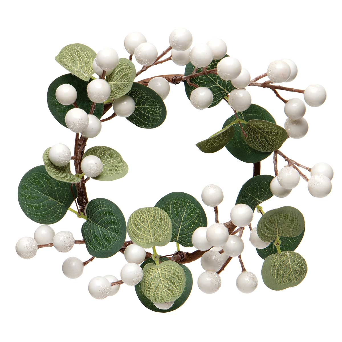 WINTER BERRY CANDLE RING WHITE WITH EUCALYPTUS LEAVES AND