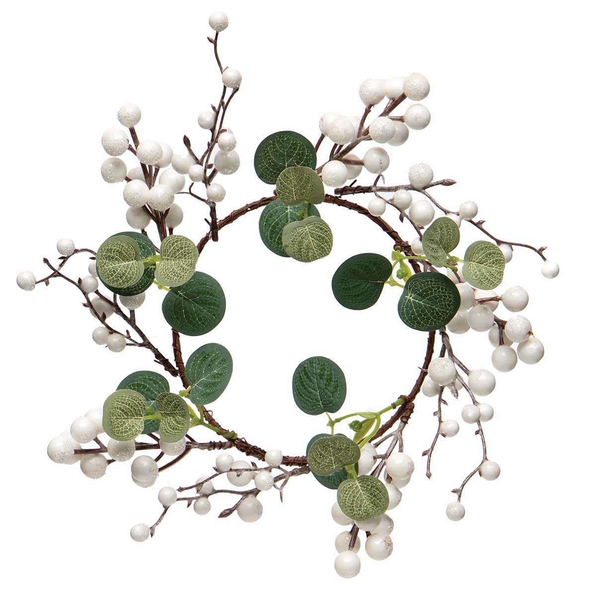 WINTER BERRY MINI WREATH WHITE WITH EUCALYPTUS LEAVES