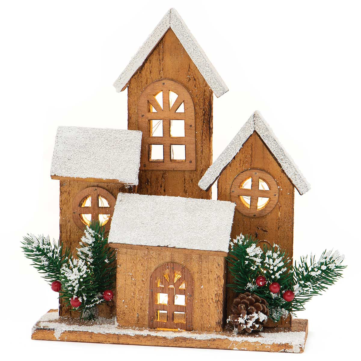 ALPINE WOOD VILLAGE X4 WITH SNOW, GLITTER, PINECONES AND