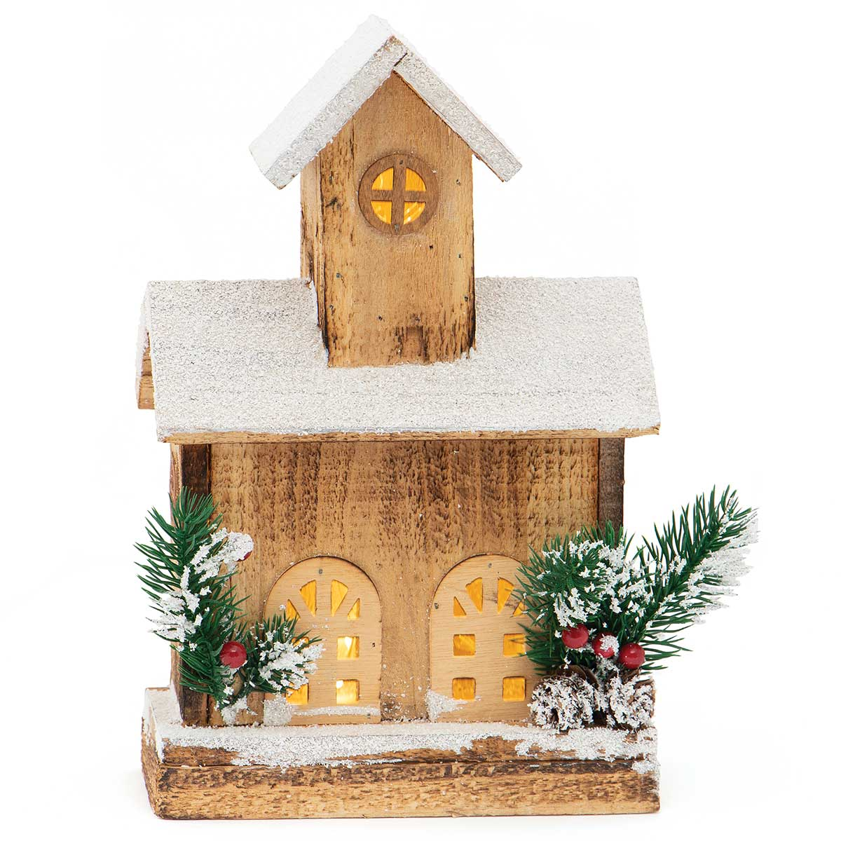 ALPINE WOOD HOUSE WITH SNOW, GLITTER, PINECONES AND