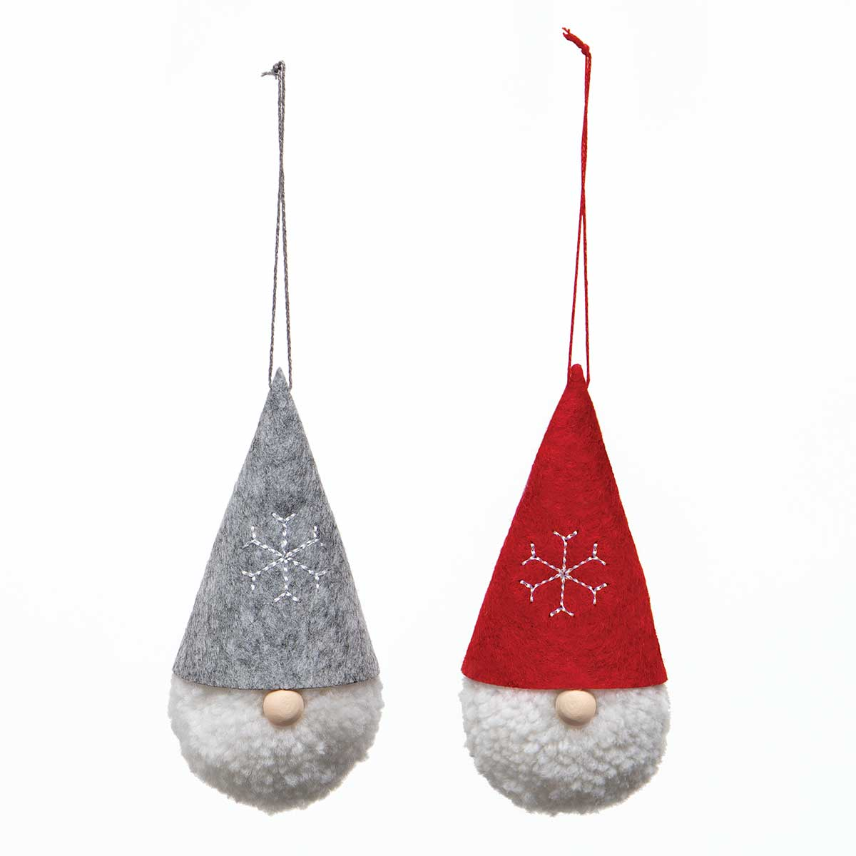 MINI GNOME HEAD ORNAMENT WITH RED/GREY HAT, SNOWFLAKE