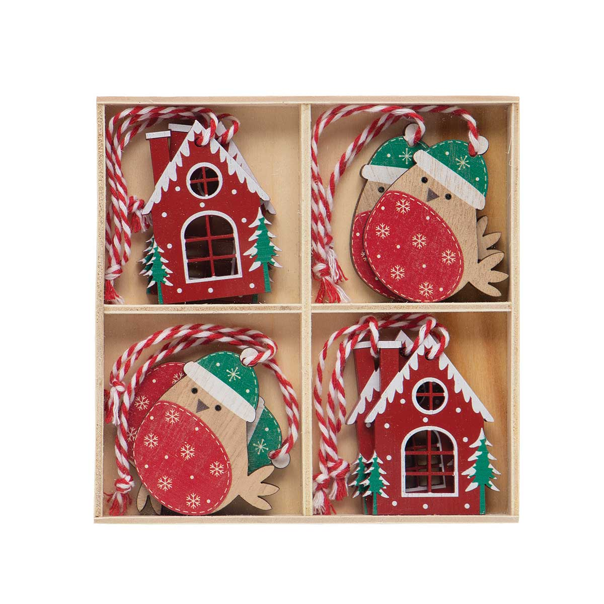 ALPINE HOUSE AND BIRD WOOD ORNAMENT RED/GREEN WITH