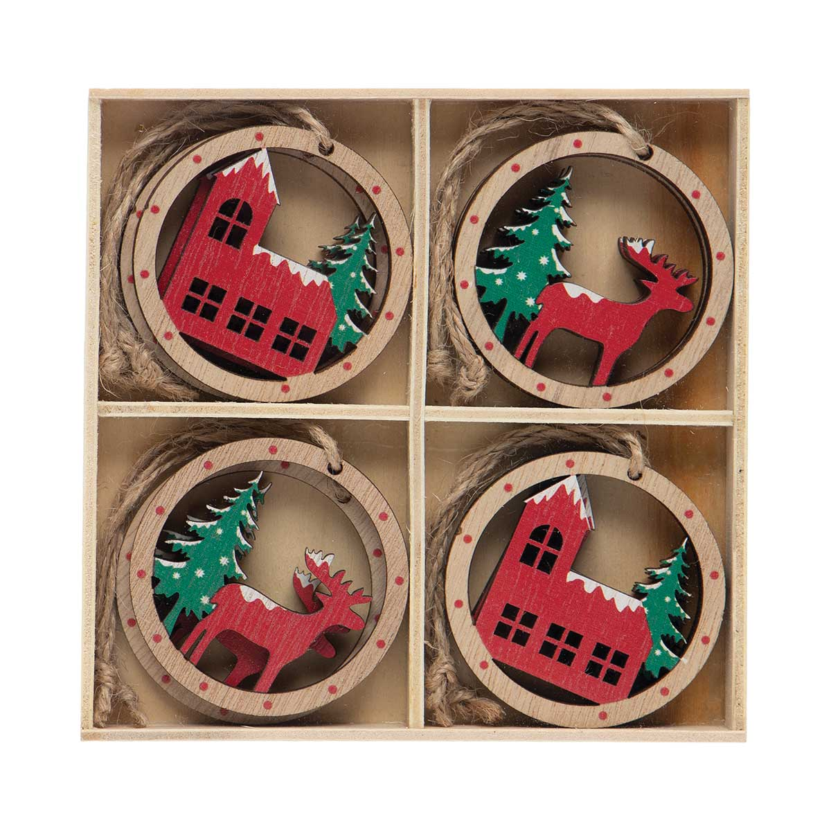 ALPINE HOUSE AND REINDEER WOOD ORNAMENT RED/GREEN