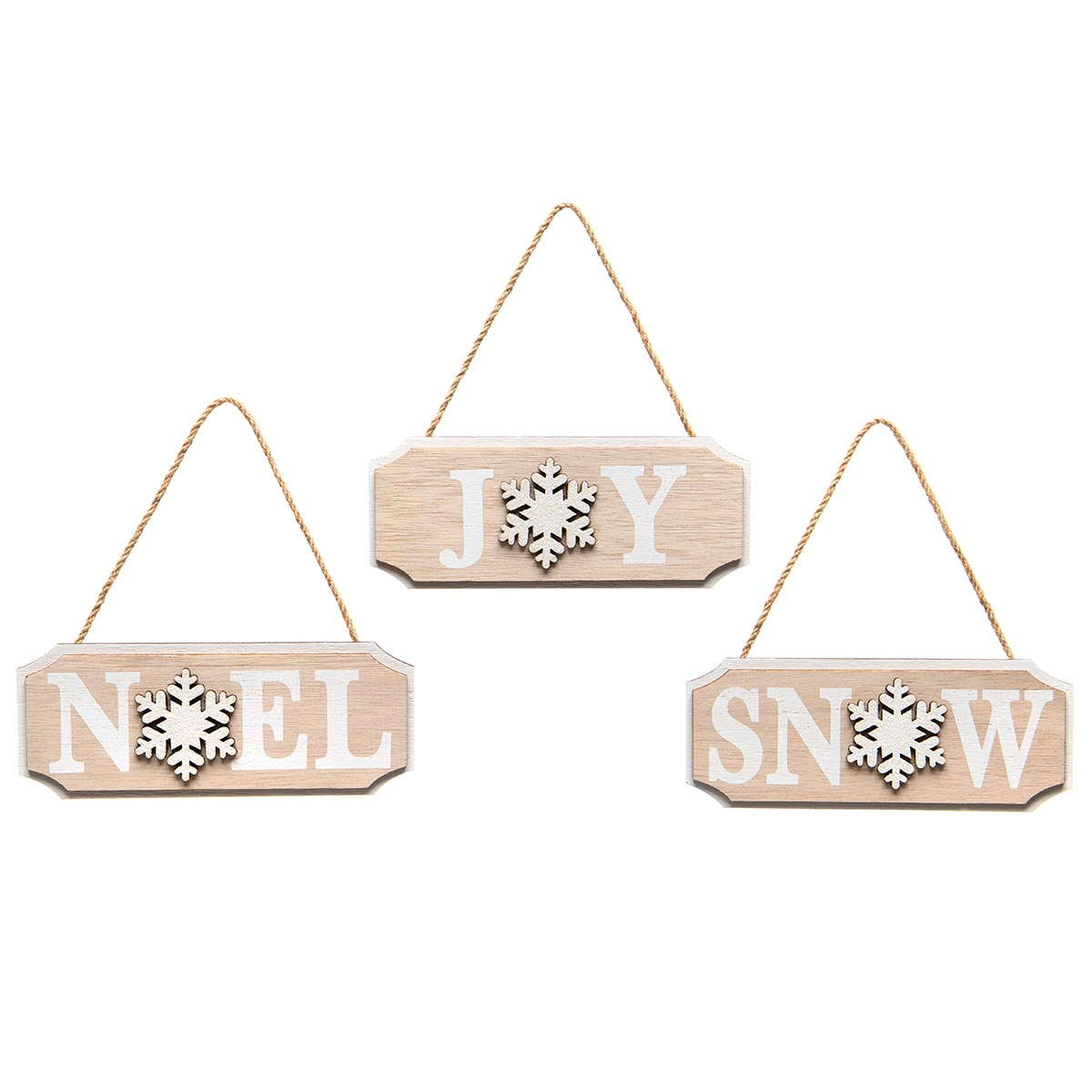 SNOWFLAKE WOOD HANGING SIGN NATURAL/WHITE WITH GLITTER