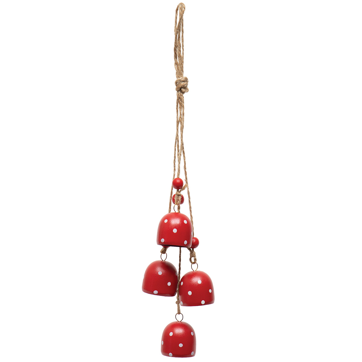 ALPINE BELL CLUSTER METAL HANGING ORNAMENT RED/WHITE