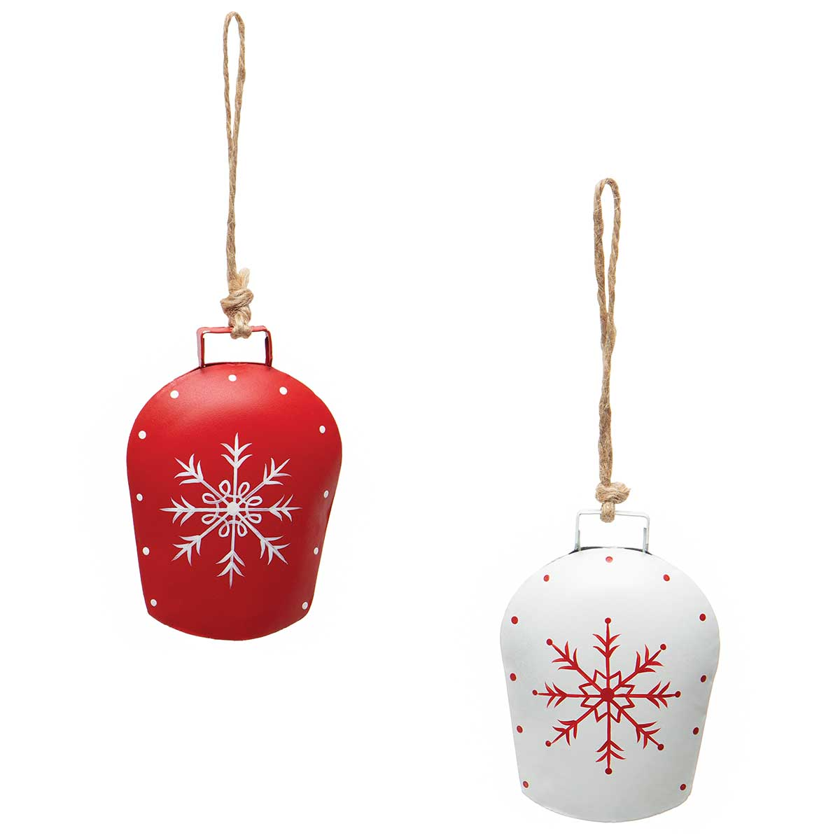 ALPINE BELL METAL ORNAMENT WITH SNOWFLAKE AND TWINE