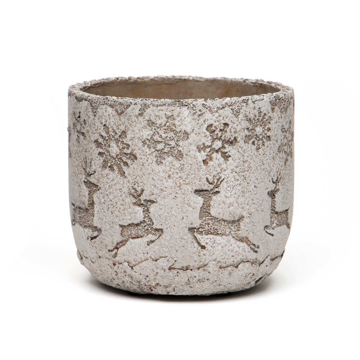 FLYING REINDEER CONCRETE POT BROWN/WHITE WITH