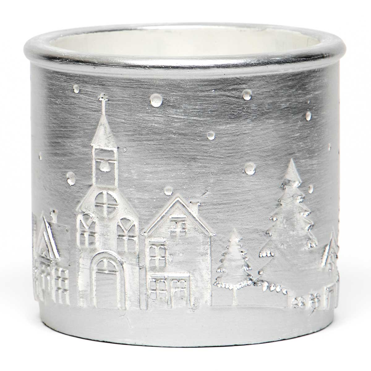 "SCENE CONCRETE POT SILVER WITH CHURCH AND TREES LARGE 5""X5"""