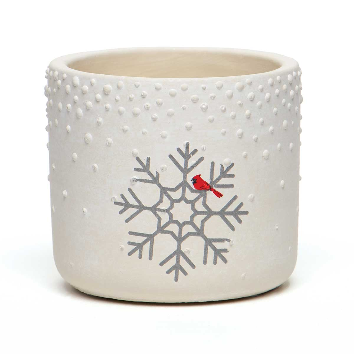 CARDINAL AND SNOWFLAKE CONCRETE POT WHITE WITH WATERTIGHT