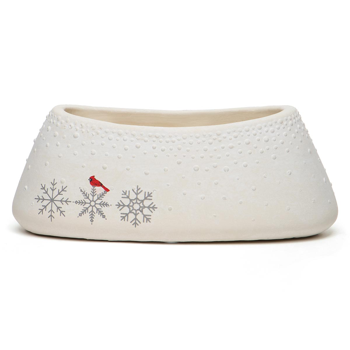 CARDINAL AND SNOWFLAKE OBLONG CONCRETE POT WHITE
