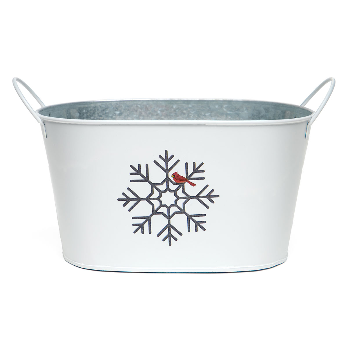 SNOWFLAKE AND CARDINAL OVAL METAL BUCKET WHITE/BLACK