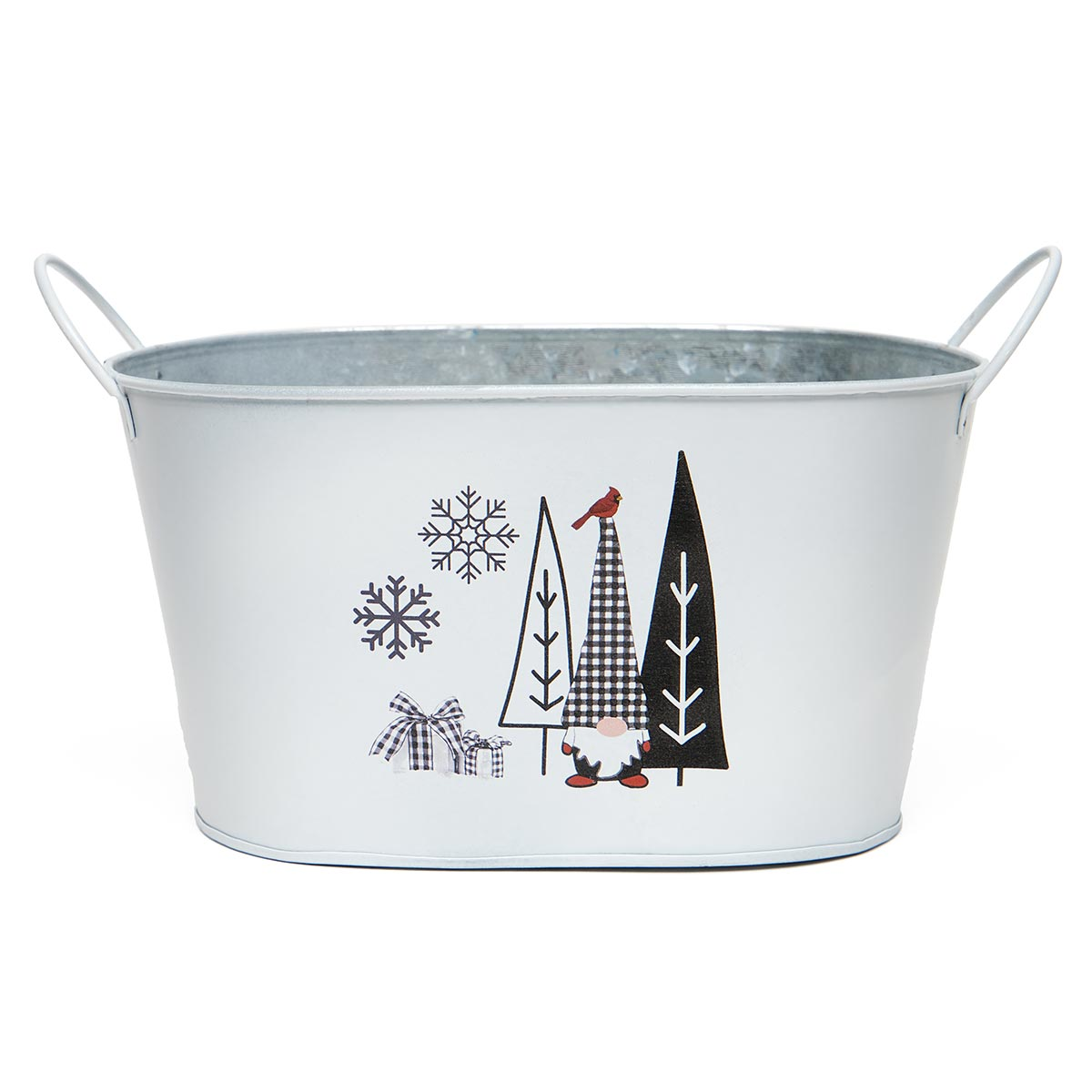 GNOME AND TREES OVAL METAL BUCKET WHITE/BLACK WITH