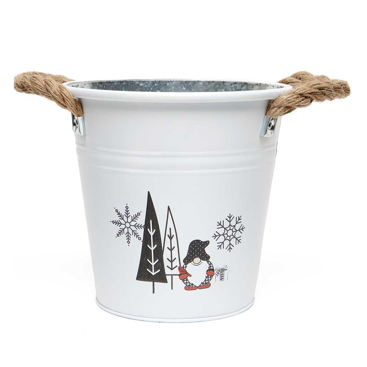 GNOME AND TREES METAL BUCKET WHITE/BLACK WITH