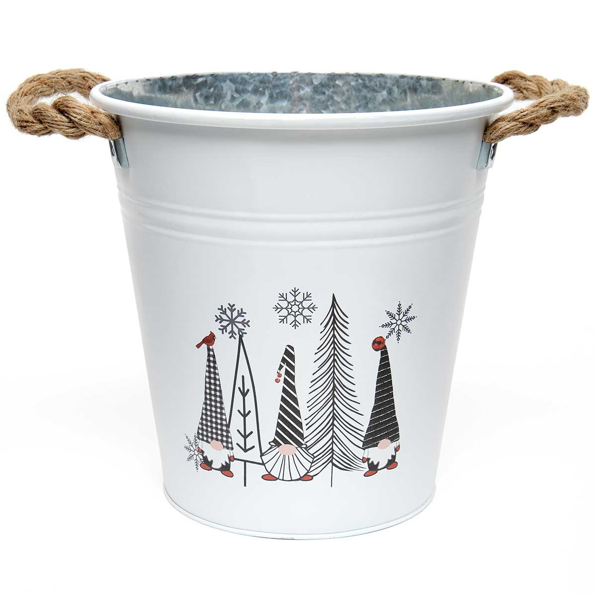 GNOMES AND TREES METAL BUCKET WHITE/BLACK WITH