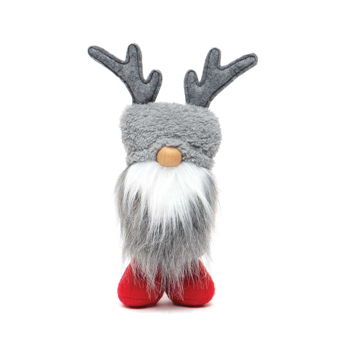 RUDI REINDEER GNOME GREY WITH WIRED ANTLERS, WOOD NOSE