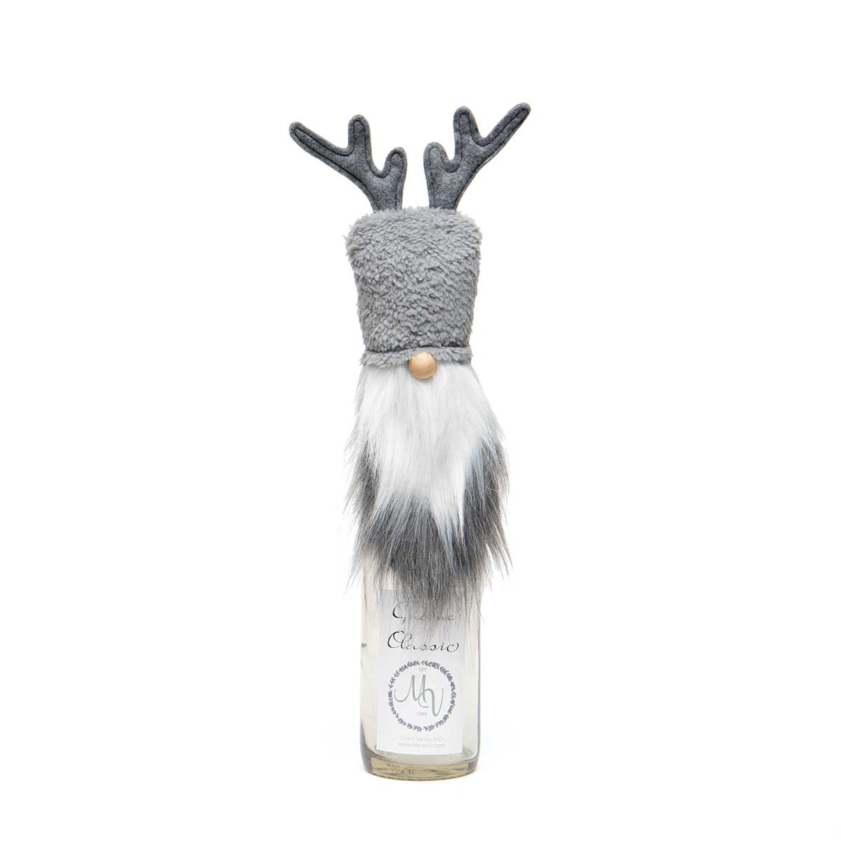 RUDI REINDEER GNOME BOTTLE TOPPER GREY WITH WIRED ANTLERS