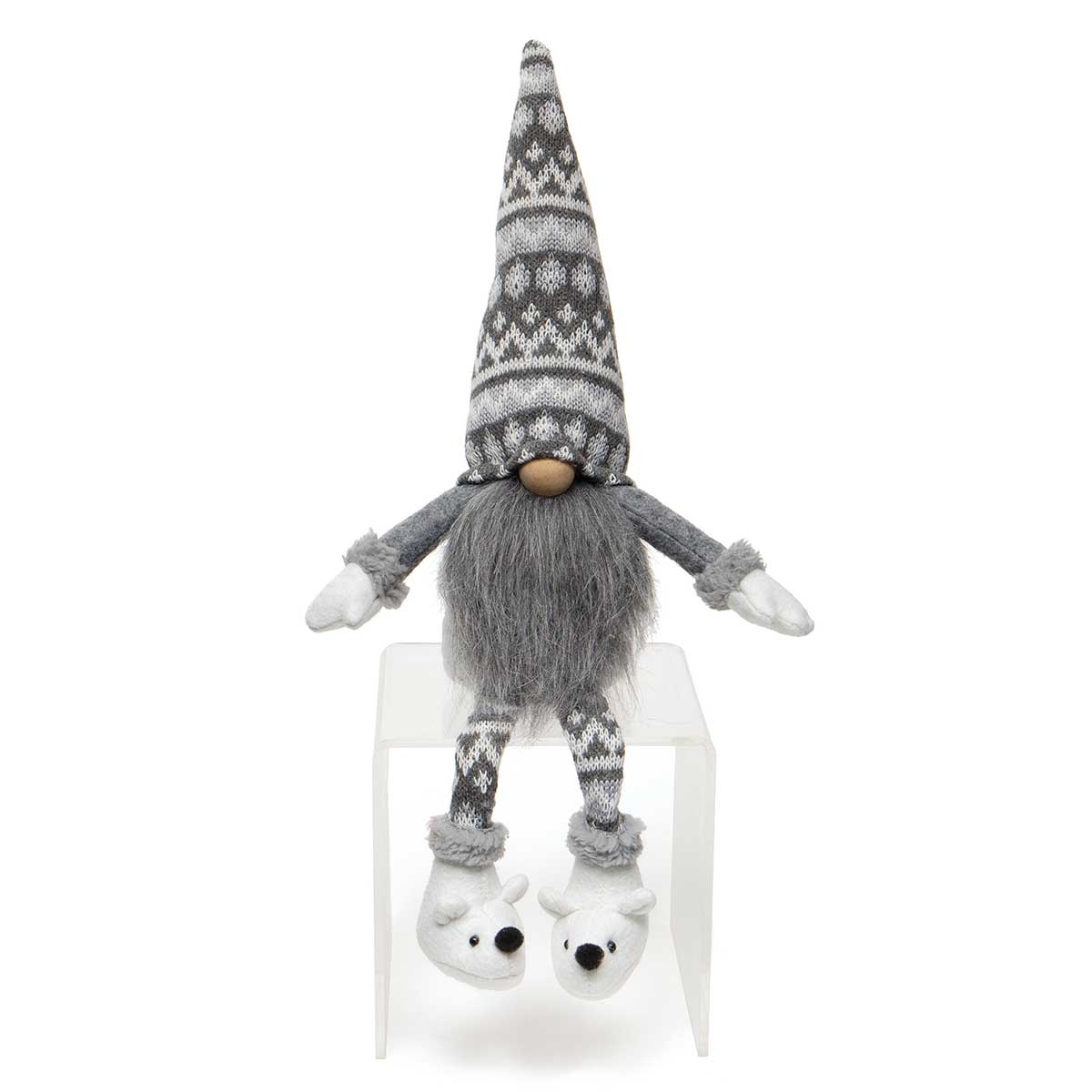 POLI BEAR GNOME GREY/WHITE WITH WIRED SWEATER HAT