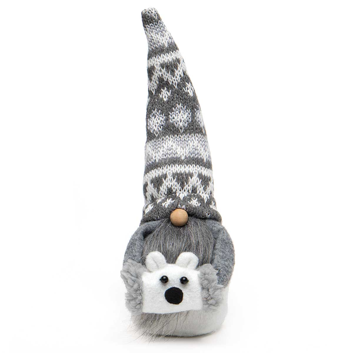 POLI BEAR GNOME ORNAMENT GREY/WHITE WITH WIRED