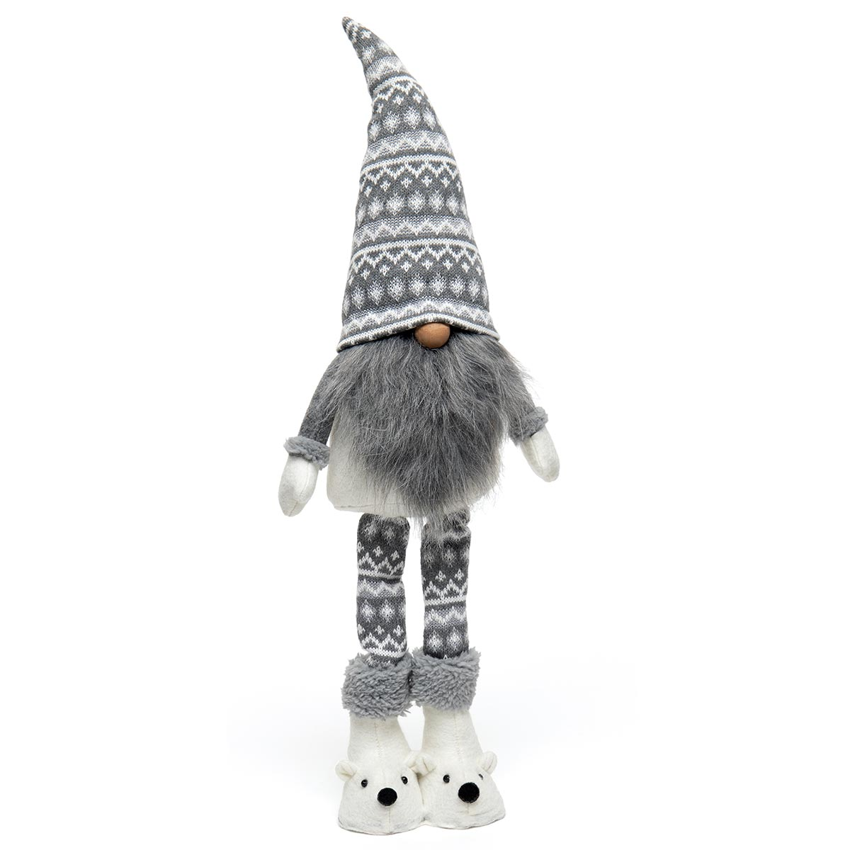 POLI BEAR STANDING GNOME GREY/WHITE WITH WIRED