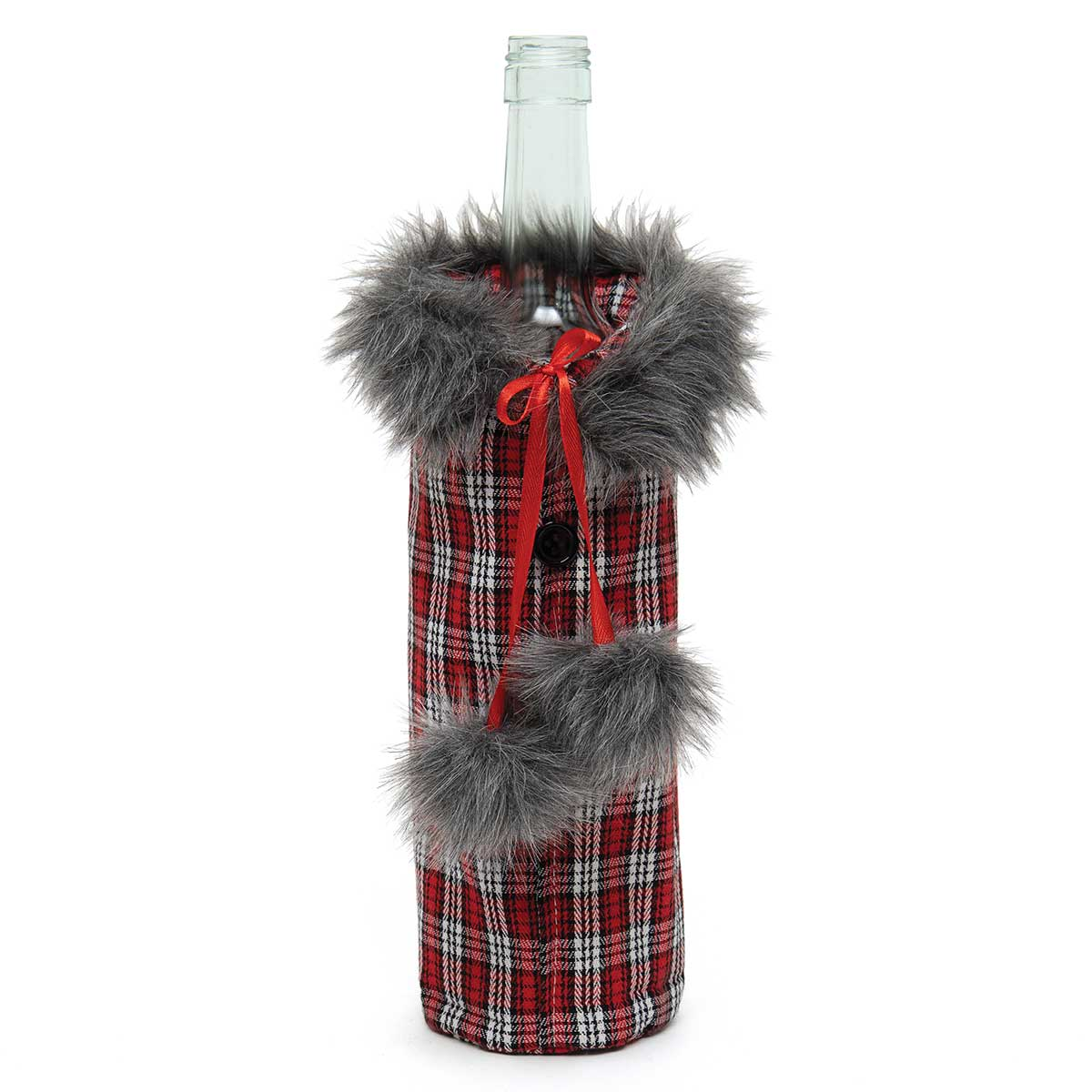 BOTTLE COAT RED PLAID WITH FUR TRIM, BUTTONS AND FAUX FUR