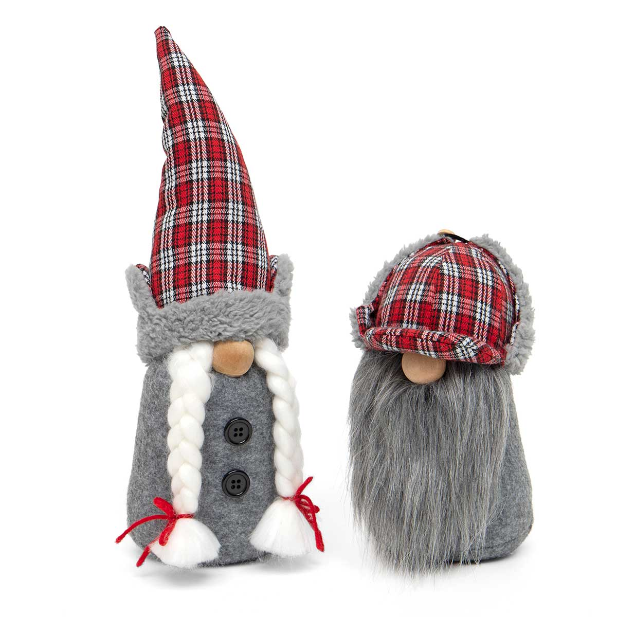 OUTDOOR PLAID GNOME COUPLE RED/GREY WITH SHERPA TRIM HAT