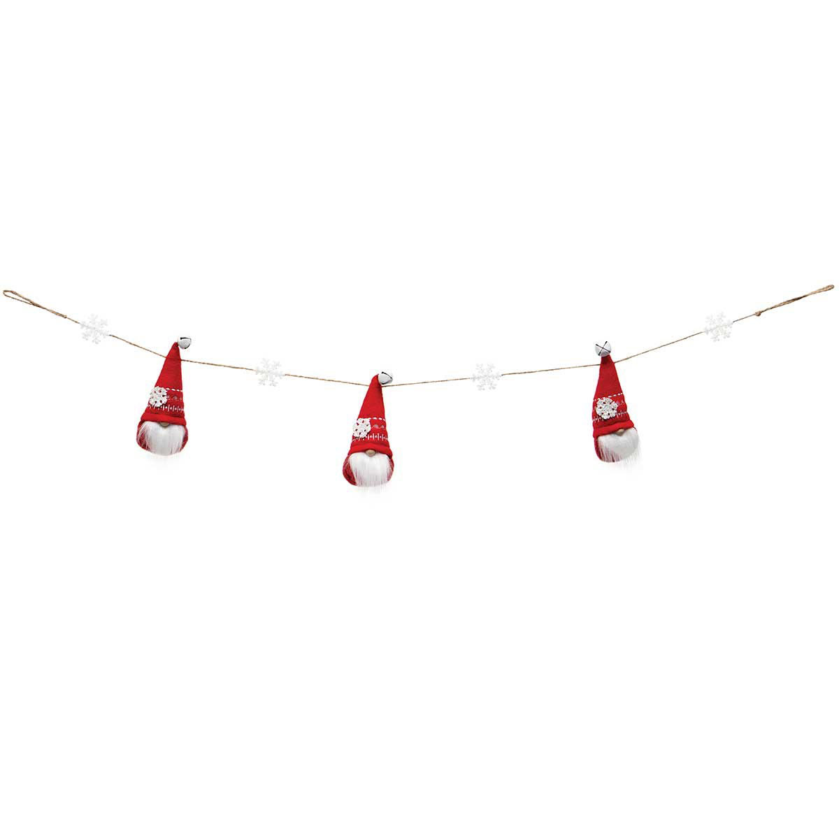 SNOWFLAKE GNOME X3 GARLAND RED WITH JINGLE BELL, WOOD