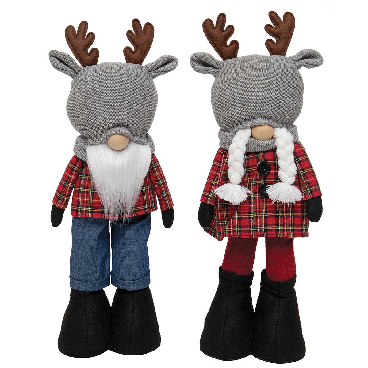 OH DEER STANDING GNOME COUPLE RED PLAID WITH REINDEER