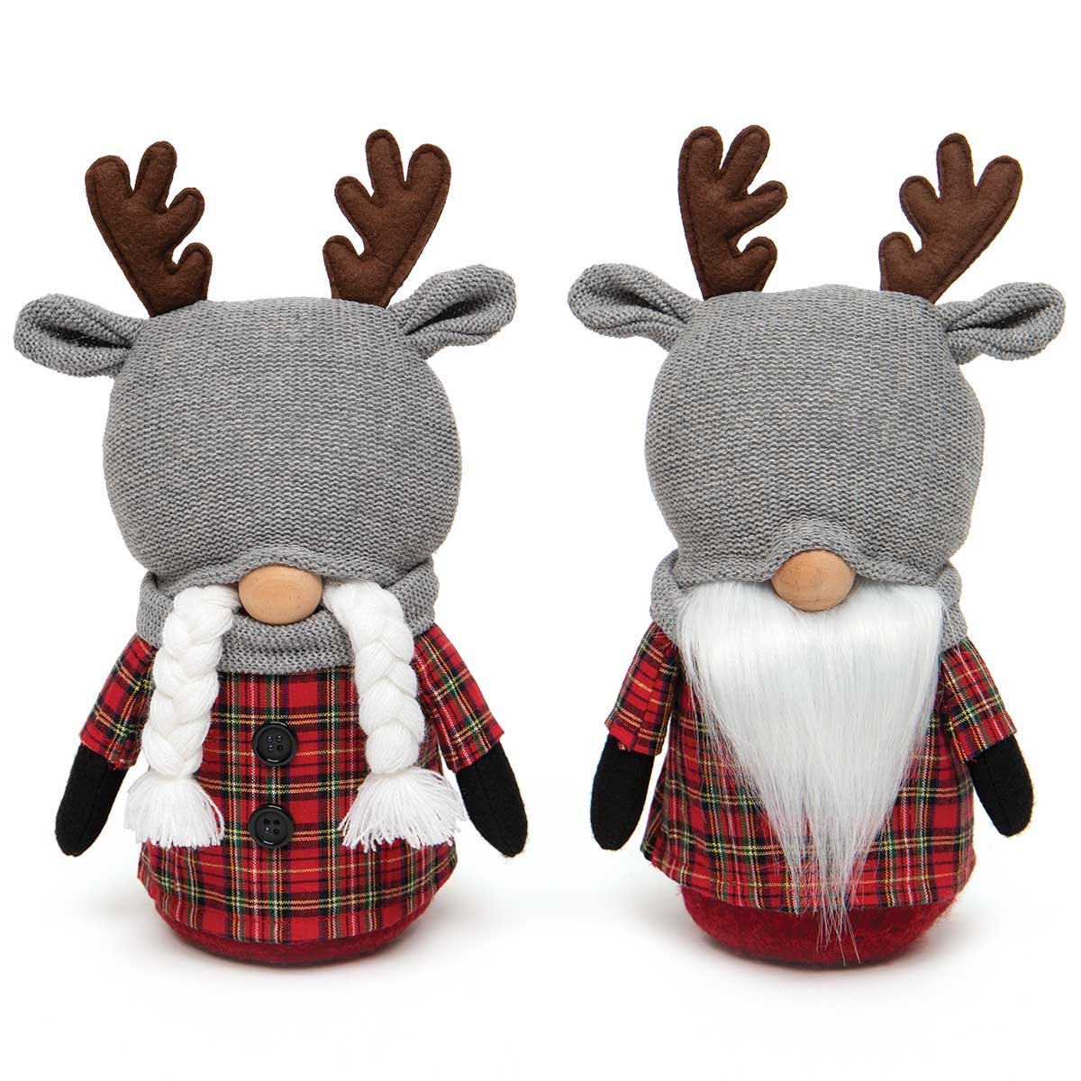 OH DEER GNOME COUPLE RED PLAID WITH REINDEER HAT, WOOD