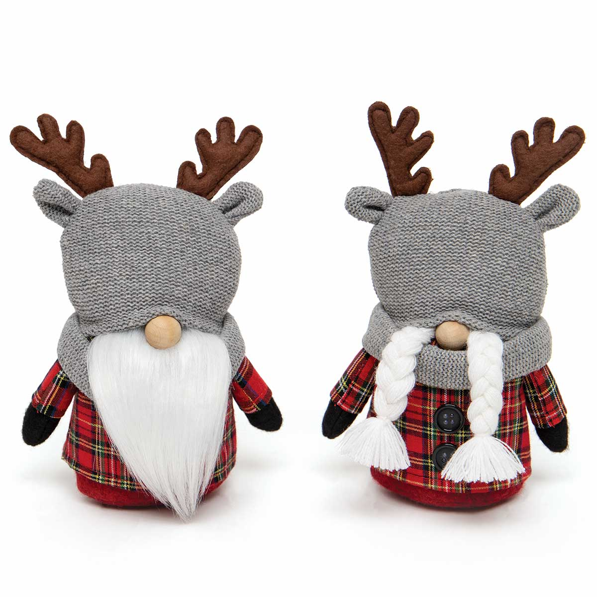 OH DEER GNOME COUPLE ORNAMENT RED PLAID WITH REINDEER