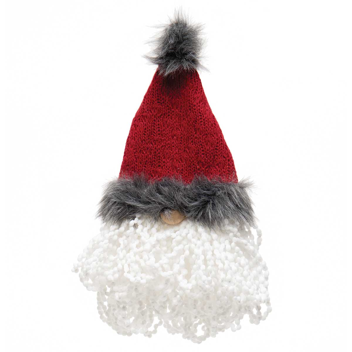 RAGLAN BEARD GNOME FACE BURGUNDY/GREY WITH FUR POM-POM