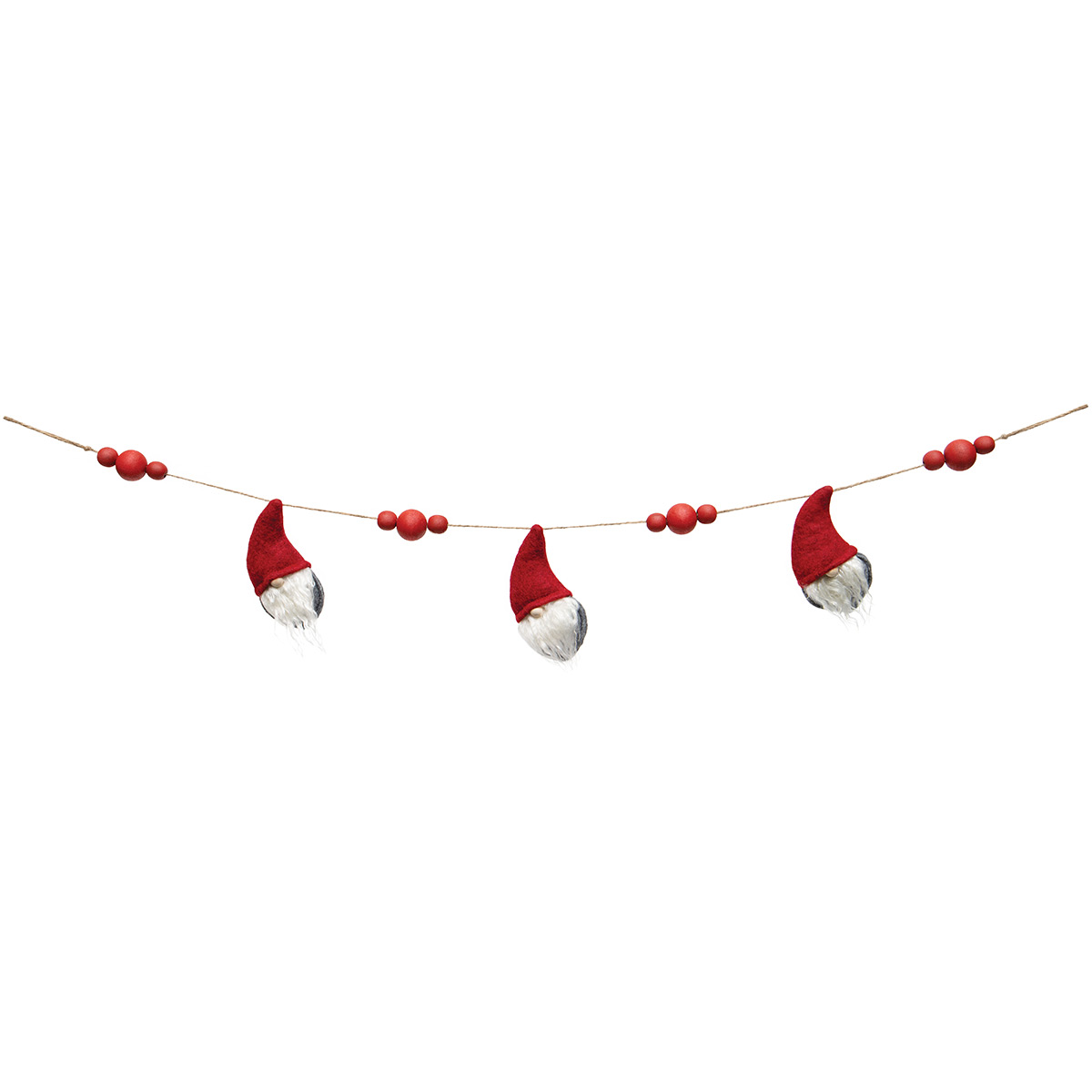 MINI GNOME X3 GARLAND RED/GREY WITH WOOD NOSES