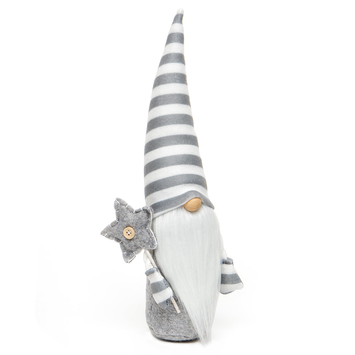 SWISS GNOME GREY/WHITE WITH STAR STAFF, WIRED STRIPE HAT