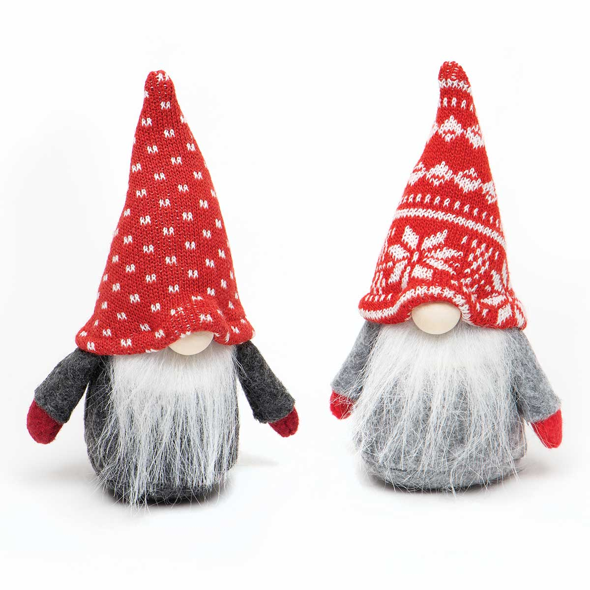 WEE GNOME ORNAMENT RED/GREY WITH PINDOT/POINSETTIA