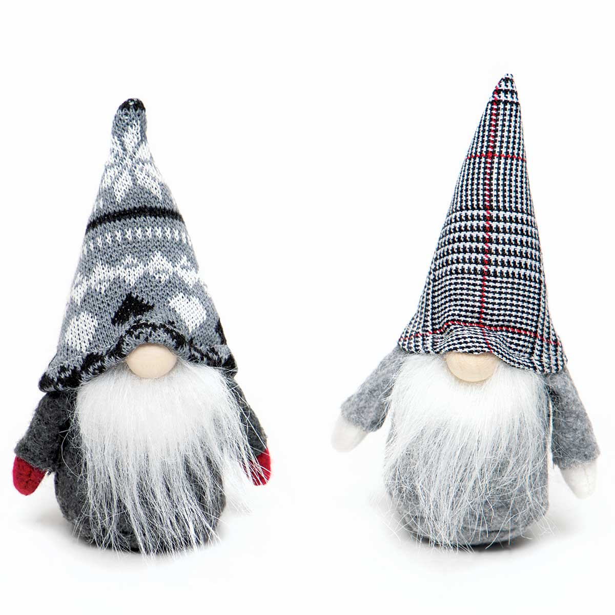 WEE GNOME ORNAMENT GREY/WHITE WITH PLAID/POINSETTIA