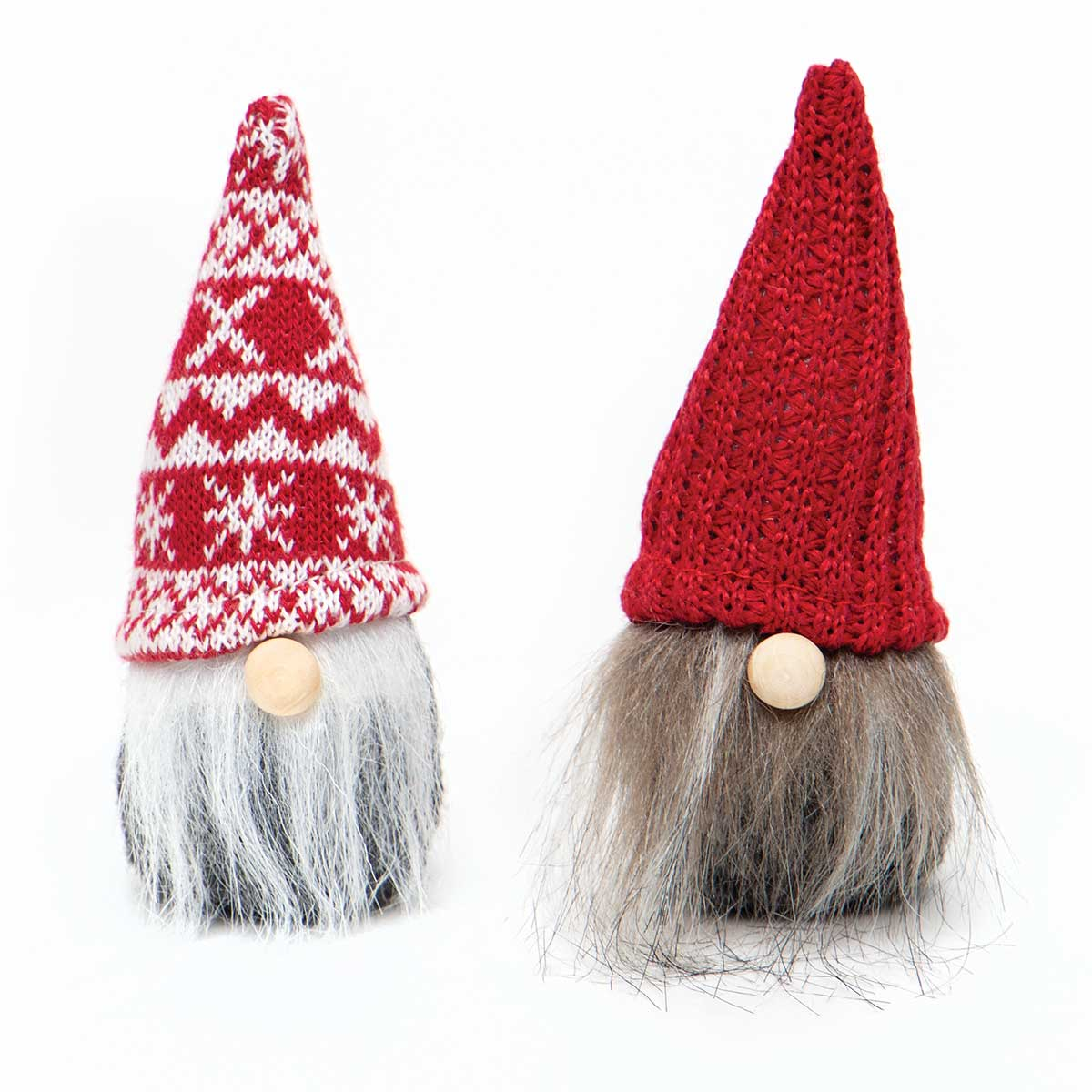 WEE GNOME ORNAMENT RED/GREY WITH KNIT HAT, WOOD