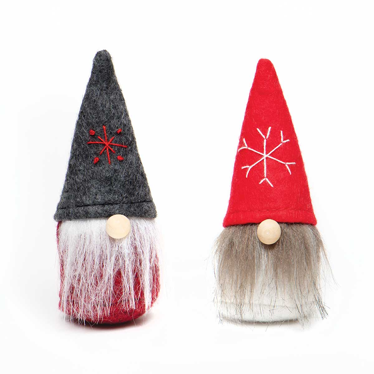 WEE GNOME ORNAMENT RED/GREY WITH STAR/SNOWFLAKE