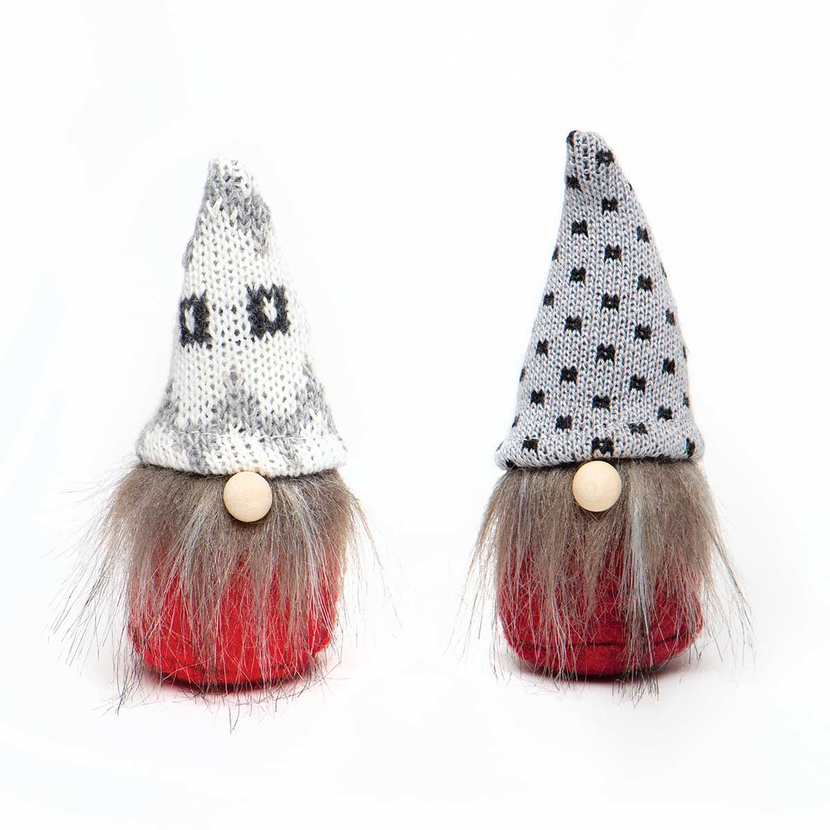 WEE GNOME ORNAMENT RED/GREY WITH PINDOT/PATTERN