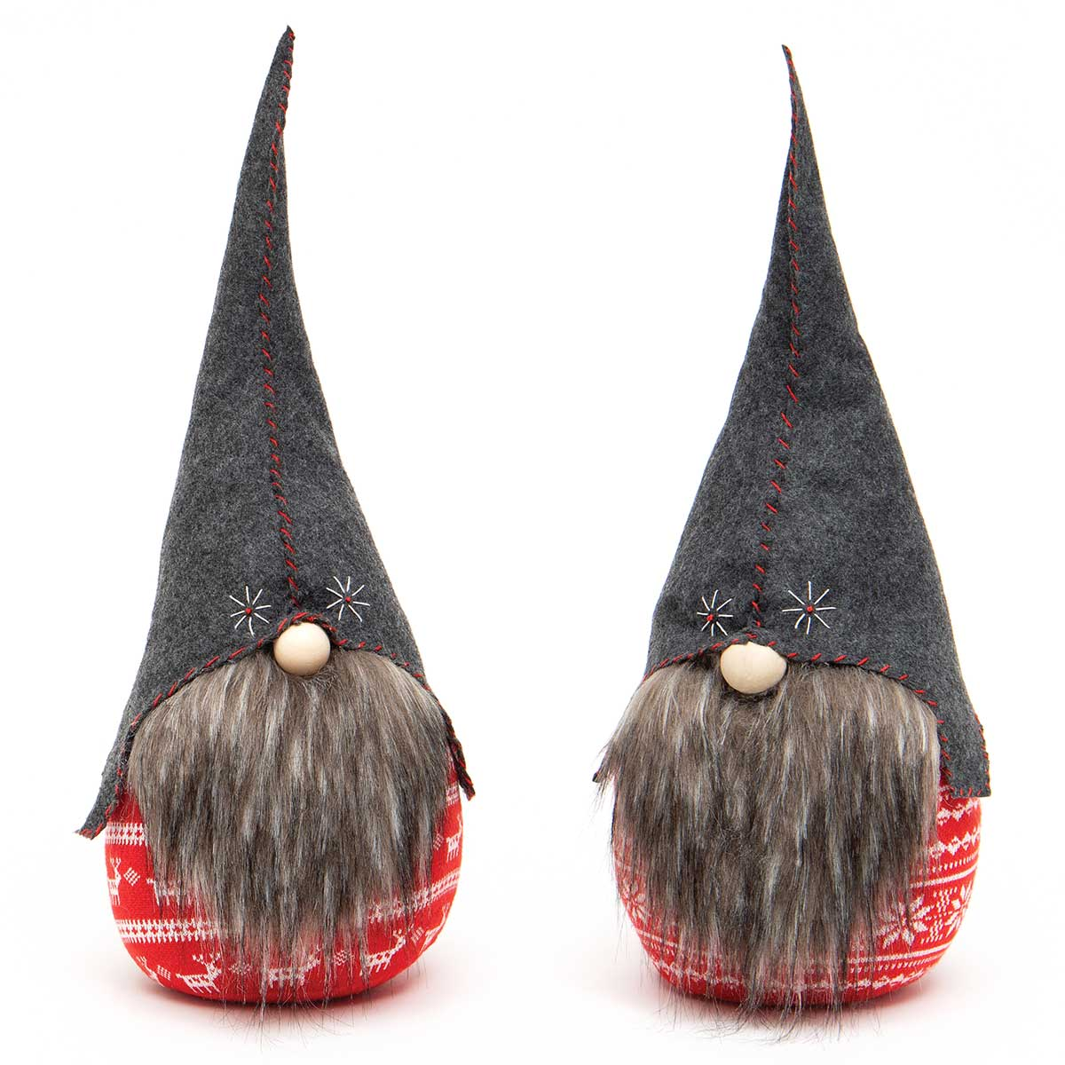 HOMER THE ROUND GNOME RED/GREY WITH STITCHING HAT