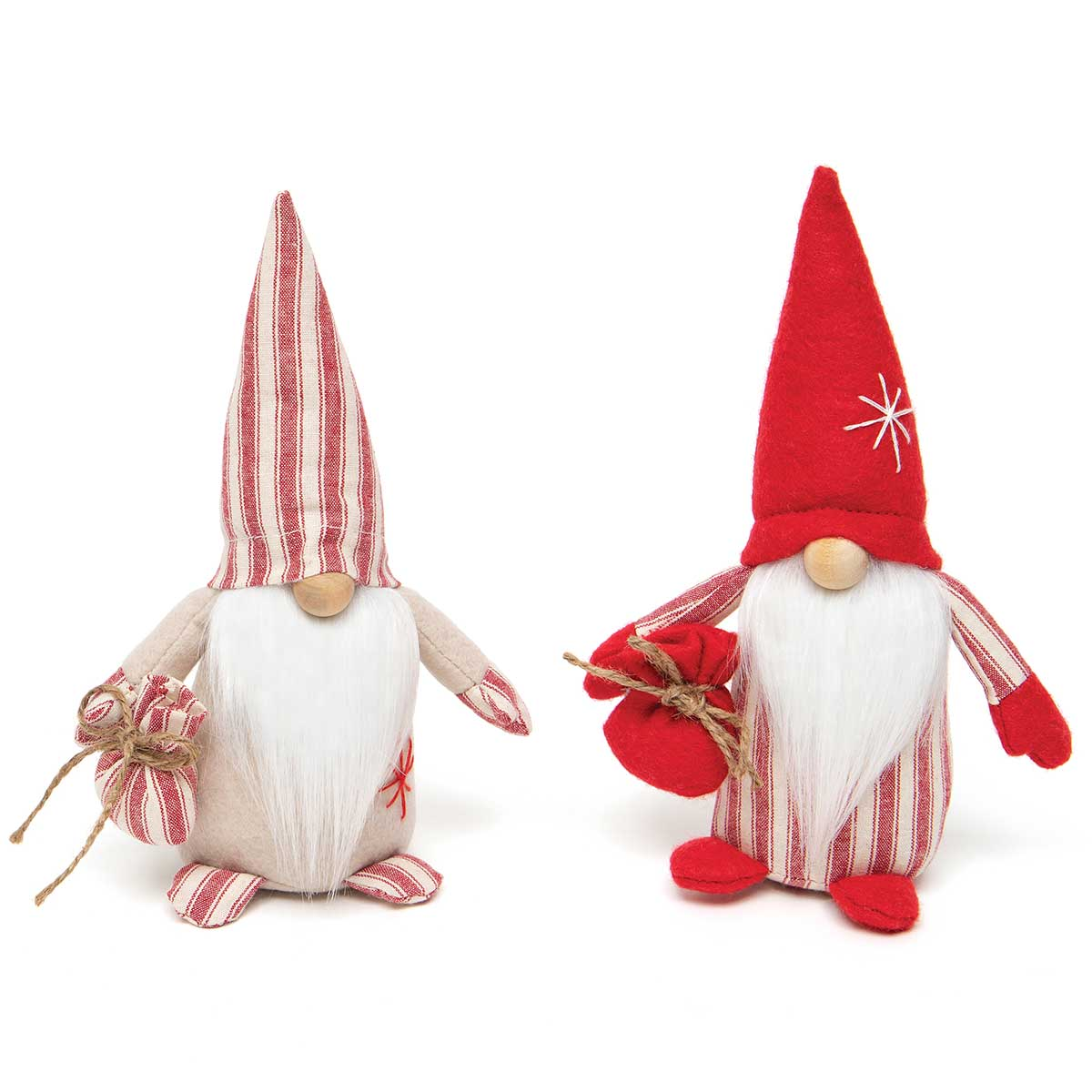 KRIS GNOME RED/BEIGE WITH BAG, TICKING, WOOD NOSE