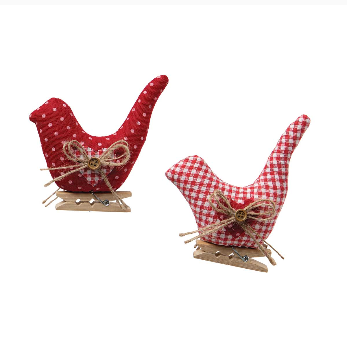 CLOTHES PIN BIRD RED/WHITE PLAID/PINDOT WITH BUTTON AND