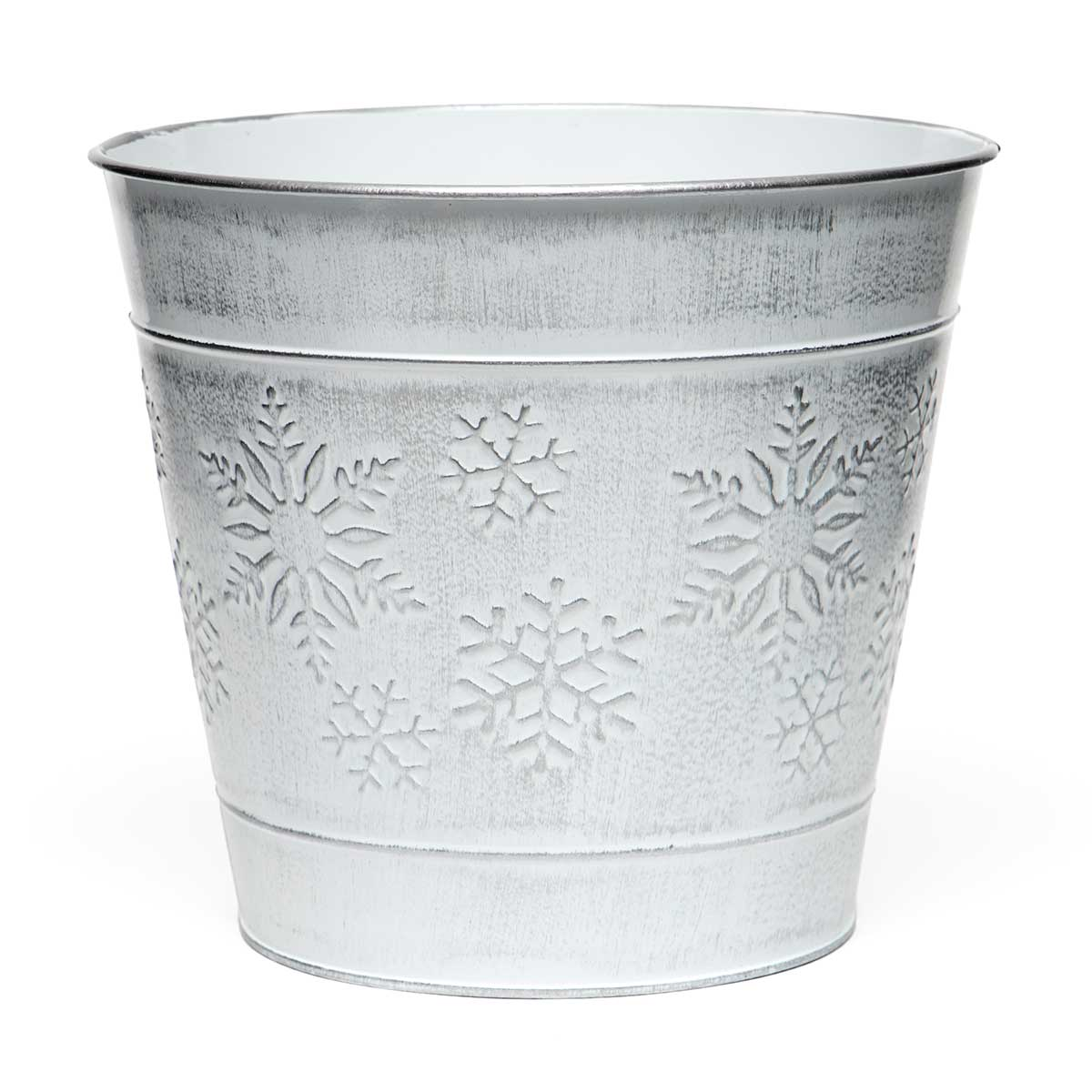 "SNOWFLAKE METAL BUCKET WHITEWASH/SILVER LARGE 8""X7.5"""