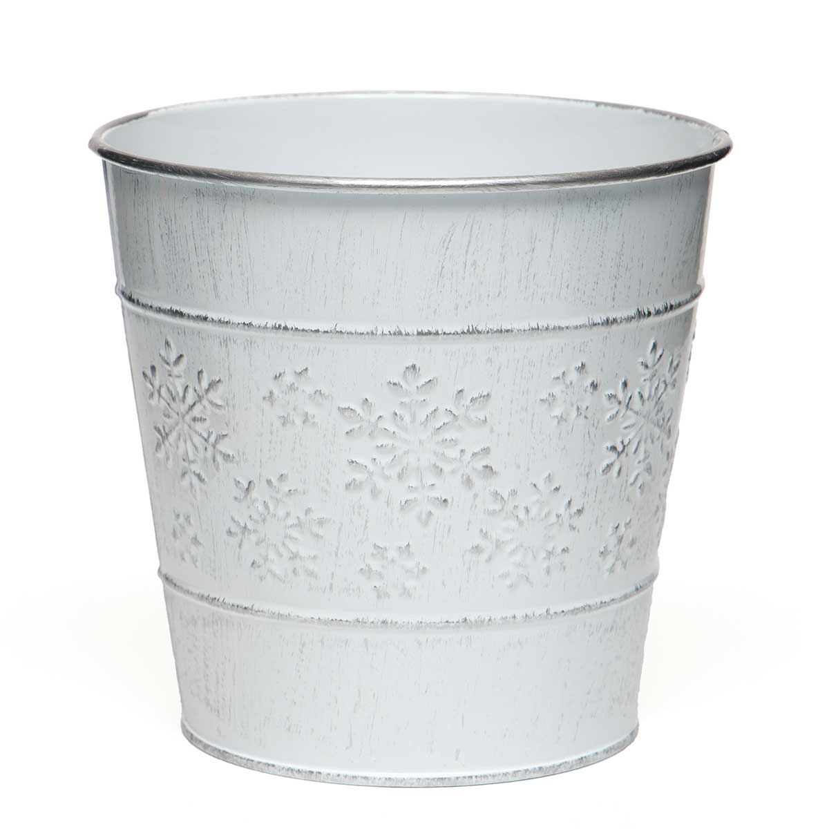 "SNOWFLAKE METAL BUCKET WHITEWASH/SILVER MEDIUM 6""X5.5"""