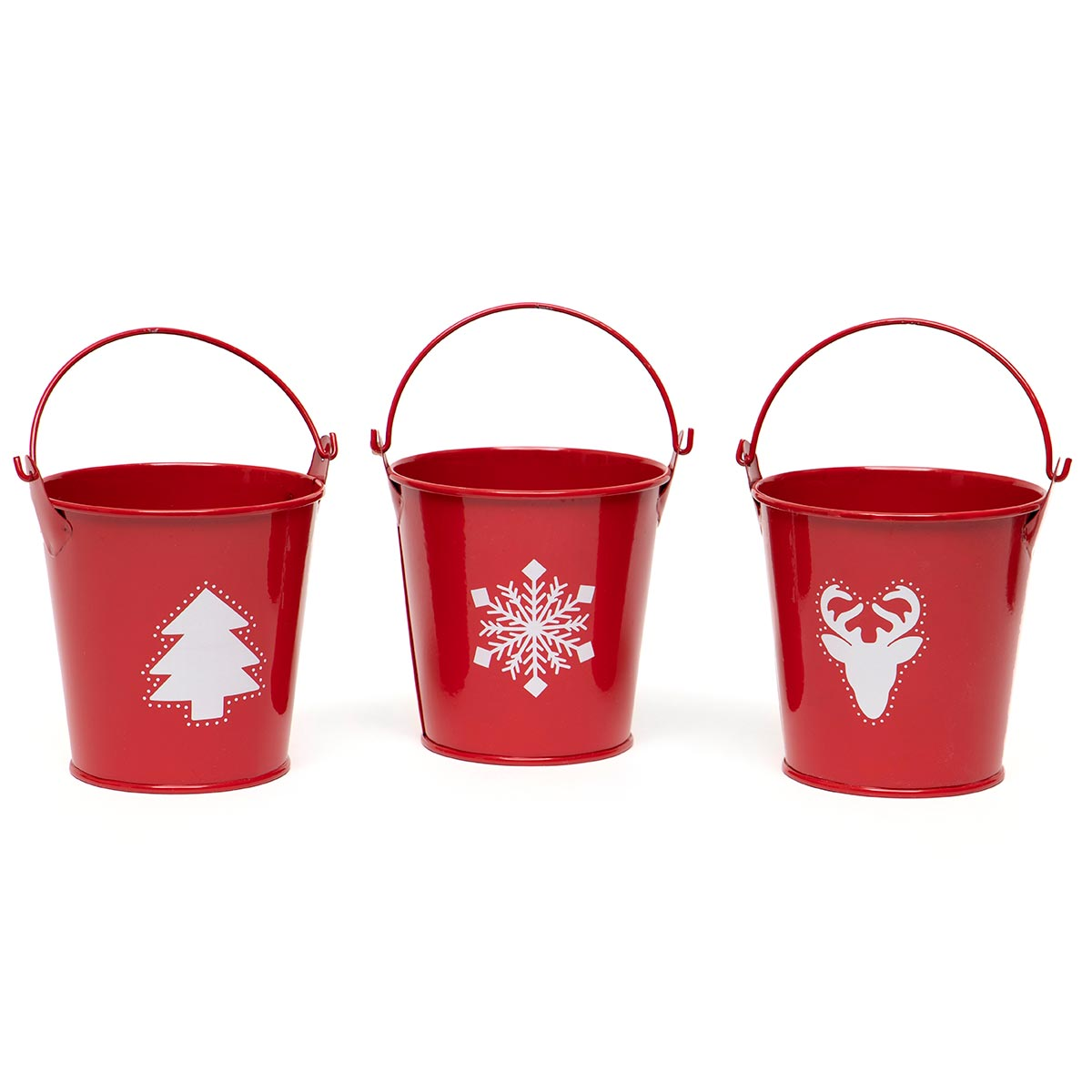 MINI METAL PAIL RED/WHITE WITH HANDLE TREE/DEER/SNOWFLAKE