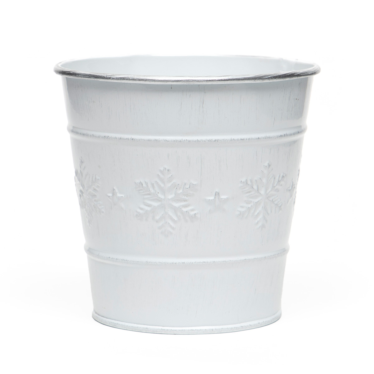 "SNOWFLAKE METAL BUCKET WHITEWASH/SILVER SMALL 4.5""X4"""