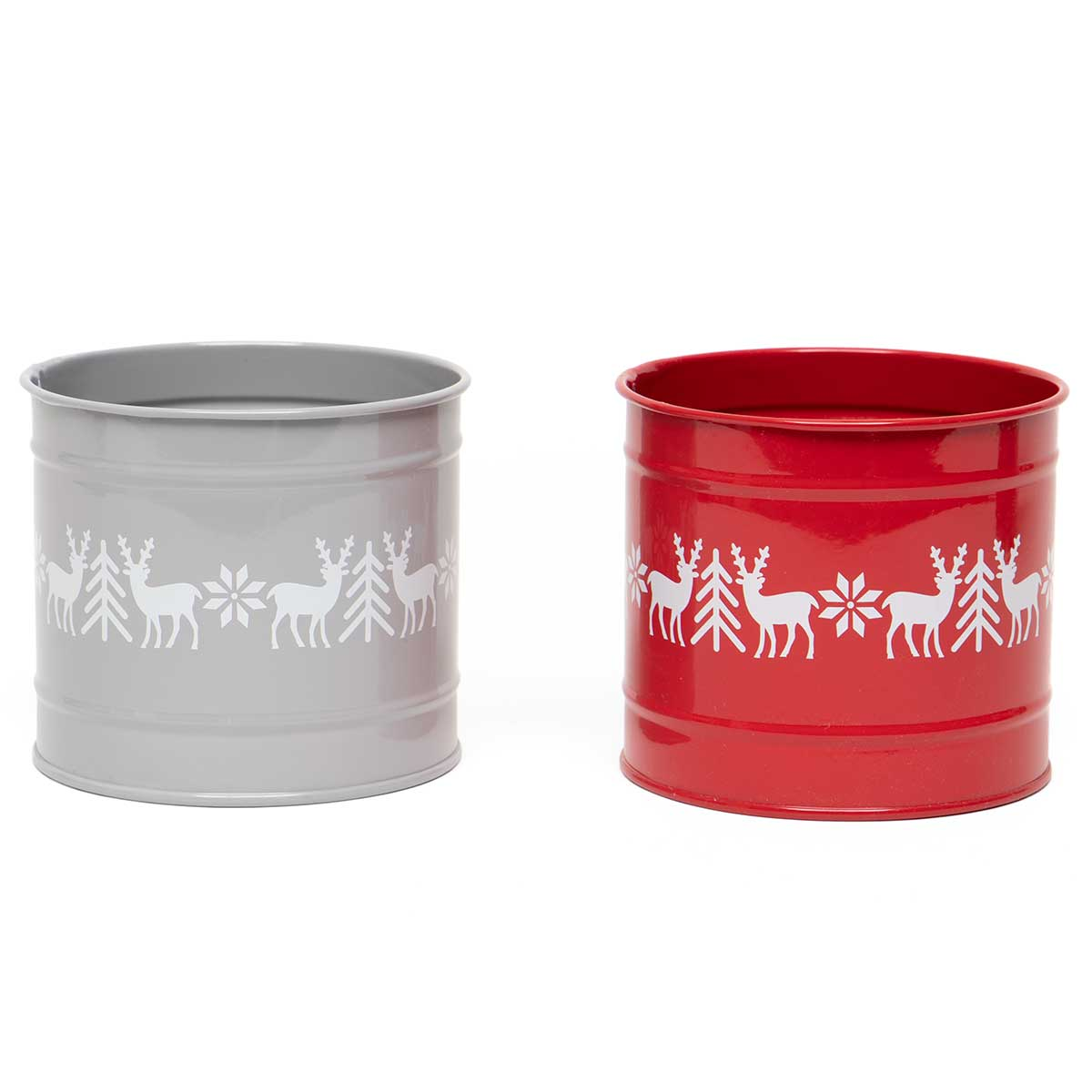SWEDISH DEER METAL PAIL WITH TREES AND POINSETTIAS