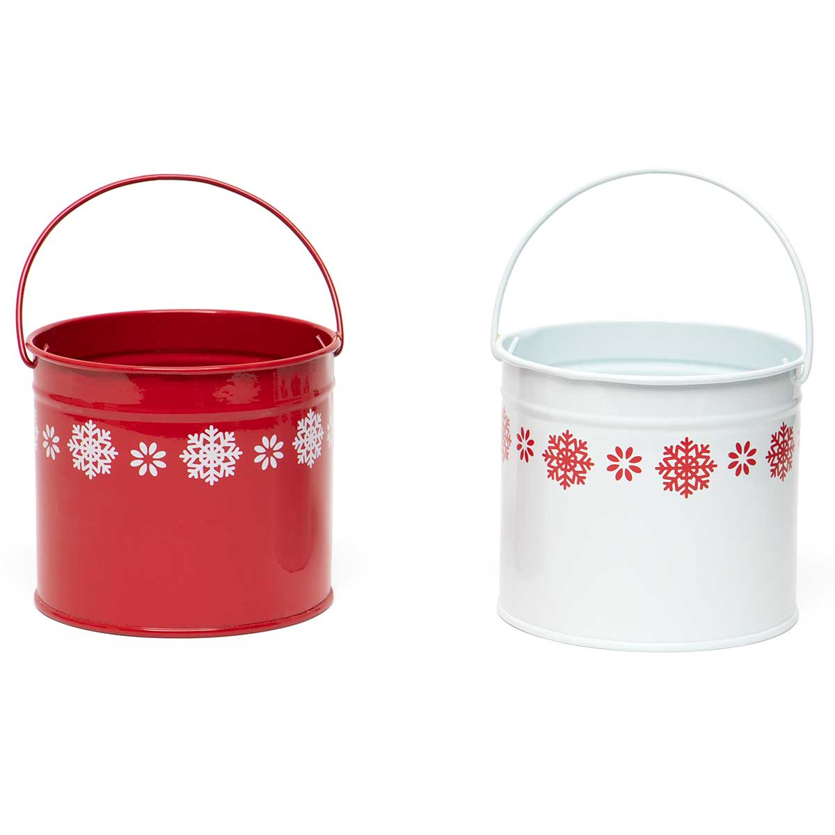 SNOWFLAKE METAL PAIL WITH HANDLE RED/WHITE 2 ASSORTED