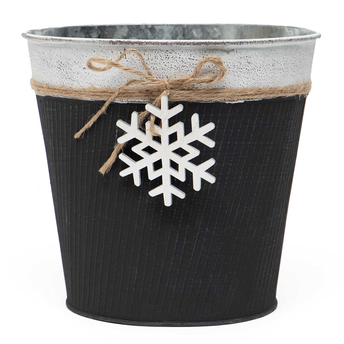FALALA RIBBED METAL BUCKET MATTE BLACK WITH WOOD