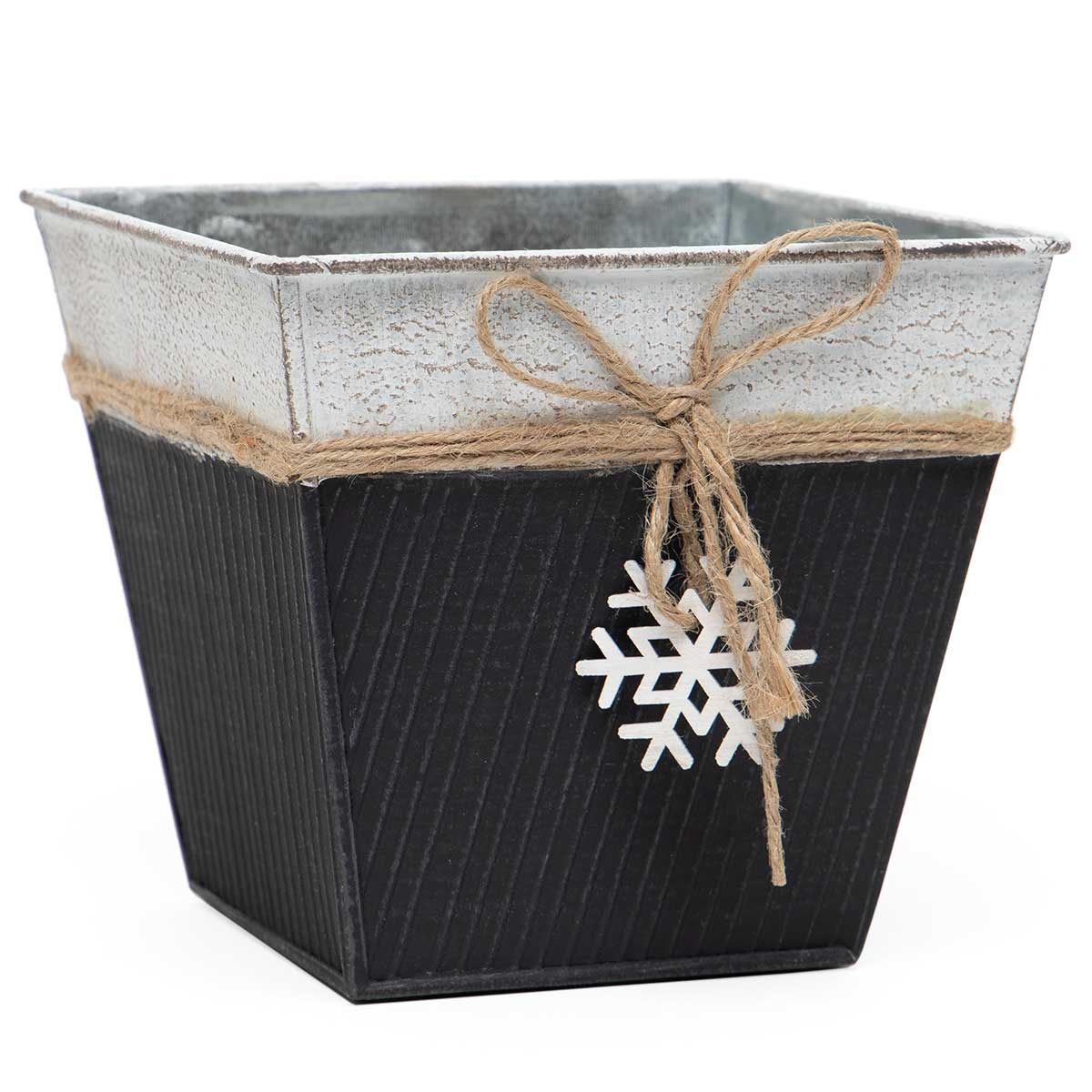 FALALA RIBBED SQUARE METAL BUCKET MATTE BLACK WITH WOOD