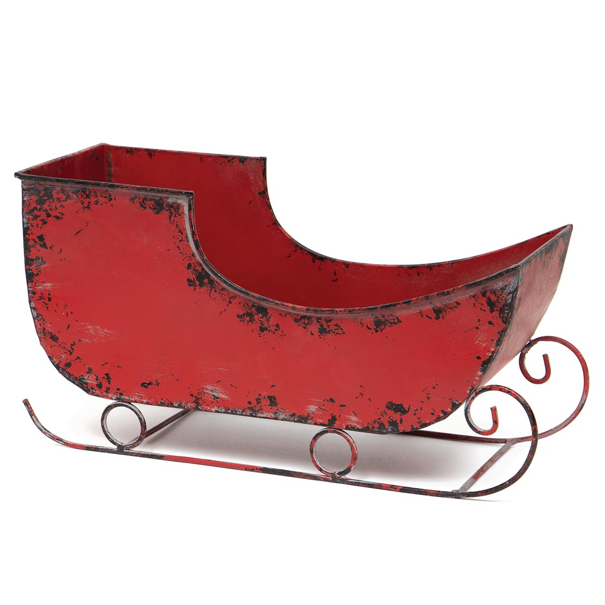 "ANTIQUE METAL SLEIGH RED 14.5""X5""X7.5"""