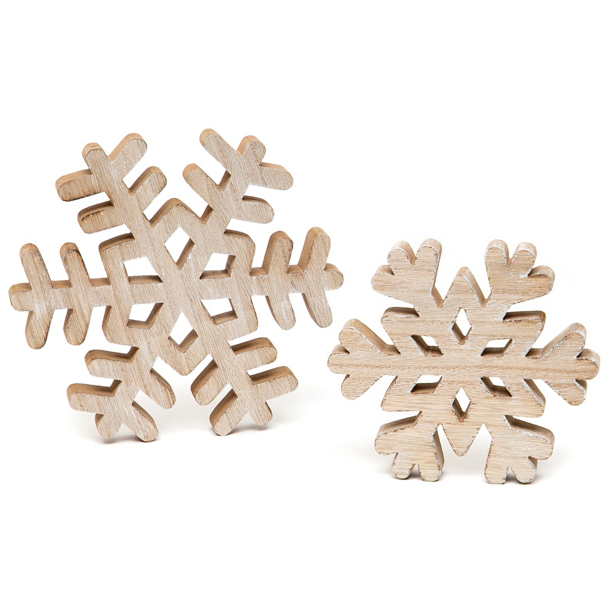 ALPINE SNOWFLAKE WOOD TABLE TOP NATURAL Set of 2